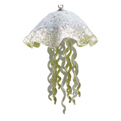 """Primo Glass - Hand Blown Glass Pendant Lighting - Lighting - Chandelier - Jellyfish Light - Beautiful one of a kind blown glass powder blue & clear jellyfish pendant light handcrafted in the USA by Primo Glass. This is a custom one of a kind """" to be built """" jellyfish light that will have slight differences from the jellyfish light shown in the listing photos, and has a lead time of aprox 3 weeks. The lighting source consists of 1 standard medium base ( 100 watt max ) light socket in the center of the Jellyfish head. It will be shipped with a 60 watt dimmable LED light bulb that will last for 20k hours or longer. It also comes complete with a custom made matching glass ceiling medallion. The glass jellyfish itself measures aprox 12 inches wide x 15 inches tall, and also includes an additional 36 inches of adjustable chain. Primo Glass fixtures are high quality collectible works of functional art, signed by the artists, and come with a certificate of authenticity."""