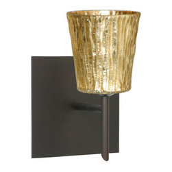Besa Lighting - Besa Lighting 1SW-5125GF-SQ Nico 1 Light Halogen Bathroom Sconce - Nico 4 features a tapered drum shape that fits beautifully in transitional spaces. Our Stone Gold Foil glass is a clear blown glass with an outer texture of coarse sandstone, with distressed metal foil hand applied to the inside. Inspired by the elements of nature, the appearance of the surface resembles the beautiful cut patterning of a rock formation. This blown glass is handcrafted by a skilled artisan, utilizing century-old techniques passed down from generation to generation. Each piece of this decor has its own artistic nature that can be individually appreciated. The mini sconce is equipped with a decorative lamp holder mounted to either a low profile round or square canopy.Features: