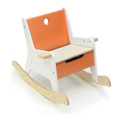 Offi Rockabye Storage Rocker in Orange - We love when one piece of furniture offers multiple functions, and this child's storage rocker is a fun example. This rocker puts a modern spin on a classic piece, and features strong birchwood construction for rocking peacefully or stowing away treasured toys.