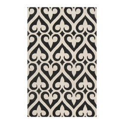 """Surya - Surya Zuna ZUN-1048 (Papyrus, Jet Black) 3'3"""" x 5'3"""" Rug - Jill Rosenwald, a top designer in handmade ceramics, has established a partnership with Surya to develop rugs with her own unique style. Her designs are known for her """"stylish sensibility"""" where popular colors and natural design elements merge."""