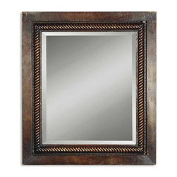 Uttermost - Uttermost Tanika  Mirror - This hand forged, metal frame features a rope design fillet. The finish is rich mahogany with light undertones. The mirror is beveled. May be hung either horizontal or vertical.