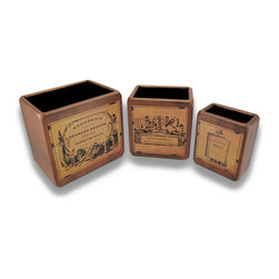 Zeckos - Set of 3 Wooden Steampunk Style Nesting Boxes - This set of Steampunk inspired boxes add a wonderful accent to any home or office. The boxes have antiqued labels advertising Sneezer's Incomparable Odorous Snuffs, Schnipp's Artistic Tonsorial Saloon, and Duodecimo Tome Book Dealer. Their solid wood construction makes these boxes perfect for storing a variety of odd things on a shelf, or for organizing your mail or pens on your desk or countertop. The largest box measures 7 1/4 inches tall, 8 inches long, 6 inches wide, the middle box measures 6 1/2 inches tall, 6 1/4 inches long, 4 1/2 inches wide, and the smallest box measures 5 3/4 inches tall, 4 3/4 inches long, 3 inches wide. This set makes a great gift for collectors that is sure to be admired.