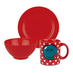 Waechtersbach - 3-Piece Breakfast Smiley Set, Red - Start the day out right with this Fun Factory Red Breakfast Set. Includes small side plate, cereal bowl, and smiley mug for your hot coffee.