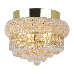 Worldwide Lighting - Empire Collection 3 Light Gold Finish Crystal Flush Mount Ceiling Light - This stunning 3-light ceiling light only uses the best quality material and workmanship ensuring a beautiful heirloom quality piece. Featuring a radiant gold finish and finely cut premium grade crystals with a lead content of 30%, this elegant ceiling light will give any room sparkle and glamour. Worldwide Lighting Corporation is a premier designer manufacturer and direct importer of fine quality chandeliers, surface mounts, and sconces for your home at a reasonable price. You will find unmatched quality and artistry in every luminaire we manufacture.