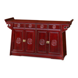 """China Furniture and Arts - 60in Rosewood Longevity Motif Altar Style Sideboard - The traditional altar for ancestral offering is now converted into a multi-functional cabinet. The top of the cabinet is ideal for displaying vases and statues. Removable shelves behind four doors and four drawers (interior 15.5"""" x 9.5"""" x 4"""" H, each) provide ample storage space. Meticulously hand-carved longevity symbol perfectly fit the classical mood of solid rosewood. Hand applied dark cherry finish allows the beauty of rosewood to shine through that will bring cheerfulness to your home. Constructed with traditional joinery technique for long-lasting durability. Perfect for dining room or great room. Solid brassware. Assembled."""