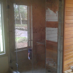 Rustic Glass Shower Door with ShowerGuard Protection - ABC Glass and Mirror, Inc.