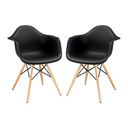 """Modway - Pyramid Dining Armchair Set of 2 in Black - Wood Pyramid Armchairs are crafted out of molded plastic for the seat and a solid wood """"pyramid"""" base. Comfortable and versatile, this chair can be used to decorate any space."""