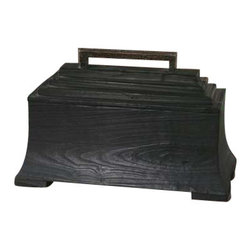 Uttermost Carino Wooden Black Box - Black satin finish on knotty, deep-grained fir wood, with copper-brown metal accents. Black satin finish on knotty, deep-grained fir wood with copper-brown metal accents. Removable lid.