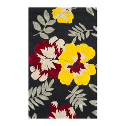 """Safavieh - Connie Hand Hooked Rug, Black / Multi 7'9"""" X 9'9"""" - Construction Method: Hand Hooked. Country of Origin: China. Care Instructions: Vacuum Regularly To Prevent Dust And Crumbs From Settling Into The Roots Of The Fibers. Avoid Direct And Continuous Exposure To Sunlight. Use Rug Protectors Under The Legs Of Heavy Furniture To Avoid Flattening Piles. Do Not Pull Loose Ends; Clip Them With Scissors To Remove. Turn Carpet Occasionally To Equalize Wear. Remove Spills Immediately. Wilton collection, a line of coordinated rugs and broadloom that re-creates classic Wilton patterns in a proprietary hand-hooked construction."""