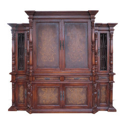 Koenig Collection - Traditional Tuscan Entertainment Center Lima, Fresco Brown Distressed - Lima Entertainment Center, Fresco Brown Distressed with Gold Scrolls