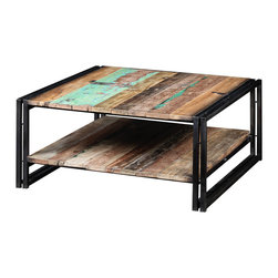 """Artemano - Industrial Coffee Table With Shelf Made of Recycled Boat Wood and Metal, 32"""" L X - The tabletop and shelf are meticulously hand assembled with pieces of durable wood once used in the construction of old fishing boats that worked the Strait of Malacca. The vibrant, pastel colored recycled wood of this coffee table jumps out next to its sleek black metal legs. Having endured the natural elements for decades, each coffee table has unique plaint flecks, cracks and holes that were carefully preserved.  This solid table is the perfect addition to any cool, fashionable living room or den."""