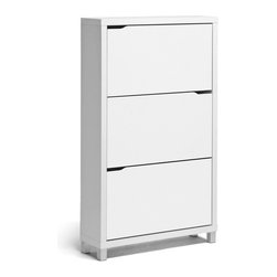 Wholesale Interiors - Simms White Modern Shoe Cabinet - Stash your shoes stylishly in our Simms Shoe Cabinet. This modern shoe storage solution was designed with a low profile, svelte size as to fit neatly against a wall in a hallway, mud room, or entryway. Three storage compartments each fit six pairs of shoes comfortably for a total of approximately eighteen shoe slots, which varies depending upon your shoes' sizes. The unit is made in Malaysia with an engineered wood frame, white paper veneer finish, plastic door supports, and silver plastic legs. The Simms Shoe Cabinet requires assembly and should be dry dusted. Other sizes and colors are also offered (sold separately). Dimensions: 52.6 inches high x 31.2 inches wide x 9.1 inches deep. Upper shelf: 3.25 inches high x 26 inches wide x 12.3 inches deep. Lower shelf : 4.5 inches high x 26 inches wide x 12.3 inches deep.