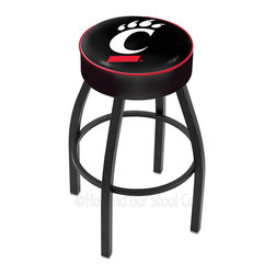 "Holland Bar Stool - Holland Bar Stool L8B1 - 4 Inch Cincinnati Cushion Seat - L8B1 - 4 Inch Cincinnati Cushion Seat w/ Black Wrinkle Base Swivel Bar Stool belongs to College Collection by Holland Bar Stool Made for the ultimate sports fan, impress your buddies with this knockout from Holland Bar Stool. This contemporary L8B1 logo stool has a single-ring black wrinkle base with a 4"" cushion for a fashion that says ""sleek and simple"". Holland Bar Stool uses a detailed screen print process that applies specially formulated epoxy-vinyl ink in numerous stages to produce a sharp, crisp, clear image of your desired logo. You can't find a higher quality logo stool on the market. The plating grade steel used to build the frame is commercial quality, so it will withstand the abuse of the rowdiest of friends for years to come. The structure is powder-coated to ensure a rich, deep finish that will last ages. Construction of this framework is built tough, utilizing only solid mig welds. If you're going to finish your bar or game room, do it right- with a Holland Bar Stool. Barstool (1)"