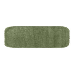 None - Plush Deluxe Laurel Green 22 x 60 Bath Runner - Relish the luxurious softness of this plush bathroom rug. Add a note of tasteful color to your most relaxing space,while enjoying the easy-to-clean features of nylon and the added safety of non-skid backing.