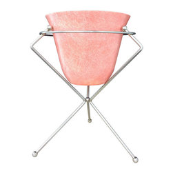 Midcentury Fiberglass Planter with Chrome Stand - This funky fiberglass pink/coral-colored planter and chrome stand is a circa-1960 American piece that I can totally picture on the patio of an outdoor room in a surfer-style home in San Diego.