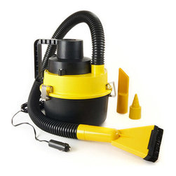 Wagan Corp. - Ultra Wet/Dry Vacuum - Wet & Dry Ultra Vac with Air Inflator.  Picks up dirt, liquid, and debris.  Inflates air mattresses.  Three attachments included.  40 inch flexible hose.  Washable 1 gallon bagless reservoir.  Powerful 12.5 Amp, 93W motor.  Plugs into 12V lighter socket with 14 ft. cord.  For automobiles, RVs, boats, and camping.