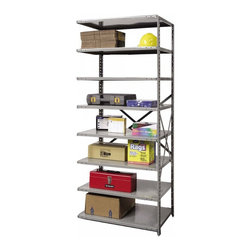 Hallowell - 87 in. High 8-Tier Extra Heavy-Duty Open Shelf in Gray - Adder (36 in. W x 12 in - Depth: 36 in. W x 12 in. D x 87 in. H. Create additional storage space wherever you need it with this heavy-duty utility shelving unit, an eight-tiered adder designed to link to an existing shelf. Made of cold rolled steel in classic gray finish, the unit has adjustable shelves and will be a durable choice for a basement, workshop, garage or commercial setting. Great addition to Hi-Tech extra heavy-duty open shelving starter unit. Open style with sway braces. 8 Adjustable shelves. Fabricated from cold rolled steel. Welds are spaced 3 in. on center to provide maximum strength. Sides are triple flanged to form a channel. All 4 corners are lapped and resistance welded to provide a rigid corner and add extra strength to the shelf. Tubular front edge is designed to protect against impact loads. 36 in. W x 12 in. D x 87 in. H. 36 in. W x 18 in. D x 87 in. H. 36 in. W x 24 in. D x 87 in. H. Assembly required. 1-Year warranty