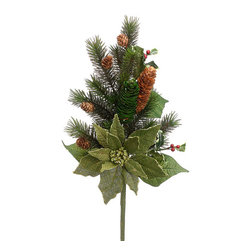 Silk Plants Direct - Silk Plants Direct Glittered Burlap Pine Cone, Holly, Poinsettia and Pine (Pack - Silk Plants Direct specializes in manufacturing, design and supply of the most life-like, premium quality artificial plants, trees, flowers, arrangements, topiaries and containers for home, office and commercial use. Our Glittered Burlap Pine Cone, Holly, Poinsettia and Pine includes the following: