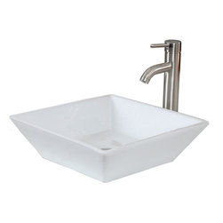 American Imaginations - 16-in. W x 16-in. D Above Counter Square Vessel In White Color - It features a square shape. This vessel is designed to be installed as an above counter vessel. It is constructed with ceramic. It is designed for a deck/wall mount faucet. The top features a 5-in. profile thickness. This vessel comes with a enamel glaze finish in White color. Simple and clean sqaure white ceramic above counter vessel with raised edges. Completely finished from all sides; including back. This Vessel features Brushed Nickel hardware. Double fired and glazed for durability and stain resistance. Quality control approved in Canada and re-inspected prior to shipping your order. Faucet and accessories not included.