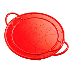 Kuhn Rikon - Kuhn Rikon Silicone Splatter Guard Set of Two - Red - Splatter Guard + Strainer + Baking Sheet