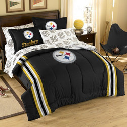Northwest Co. - NFL Pittsburgh Steelers Embroidered Twin / Full Comforter Set - Super cozy and super soft, right down to the large embroidered team logos that stand out from the solid background. This comforter set features a soft, chenille embroidery on the comforter and included is 2 printed shams. The combination of a single raised embroidery against the team color coordinated background adds a bit of sophistication to a great choice in a sports fans room adornment.