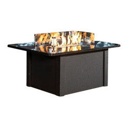The Outdoor Greatroom - Grandstone Chat Height Gas Fire Pit Table With Black Metal Base - Simply durable and beautiful, the Grandstone fire pit table features a classic design and is easily customizable. Choose from a brown metal base with either brown metal side panels or brown wicker side panels, and a gorgeous solid British Copper granite top; Or from a black metal base with either black metal side panels or black wicker side panels, and an elegant absolute black granite top. Really enhance your backyard with this beautiful fire pit table. This fire pit table comes with a rectangular 24x12 inch stainless steel Crystal Fire Burner that will truly light up the night and add warmth to your outdoor space. These burners are made from high quality stainless steel and include tempered, tumbled glass, an LP hose and regulator, a metal flex hose, a gas valve, and a push button sparker. With just a push of a button, a beautiful clean-burning fire appears atop a bed of highly reflective Diamond glass fire gems. All burners are shipped with orifices for LP or NG fuels and are UL approved for safety and quality. Adjust the flame height to your desired setting and enjoy the magic and ambience of a warm glowing fire.