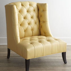 "Old Hickory Tannery - Old Hickory Tannery ""Windmere"" Leather Chair - Functionally chic—this soft-to-the-touch, deeply tufted leather chair is sure to please with its timeless and graceful styling and durability. Blends beautifully into home or work decor. From Old Hickory Tannery®. Frame made of hardwood; le..."