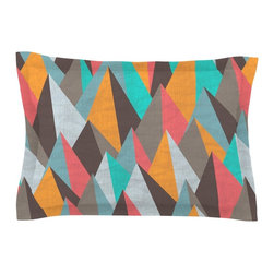 "Kess InHouse - Michelle Drew ""Mountain Peaks I"" Orange Teal Pillow Sham (Cotton, 30"" x 20"") - Pairing your already chic duvet cover with playful pillow shams is the perfect way to tie your bedroom together. There are endless possibilities to feed your artistic palette with these imaginative pillow shams. It will looks so elegant you won't want ruin the masterpiece you have created when you go to bed. Not only are these pillow shams nice to look at they are also made from a high quality cotton blend. They are so soft that they will elevate your sleep up to level that is beyond Cloud 9. We always print our goods with the highest quality printing process in order to maintain the integrity of the art that you are adeptly displaying. This means that you won't have to worry about your art fading or your sham loosing it's freshness."
