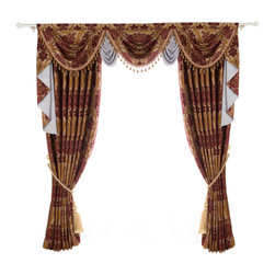 "Ulinkly.com - Fresh Elegance, 100""*96"", 2 Panels with Valance - This price includes 2 panels and valance, each panel is 100""/96"", 100% Chenille."