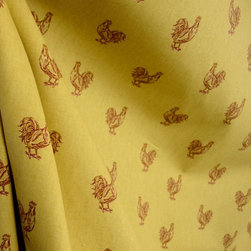 Pecking Order Spice Rooster Cotton Drapery Fabric By The Yard - Pecking Order in the color Spice is a drapery weight cotton fabric. Roosters will never get old and this fabric is great for pillows, bedding and draperies.