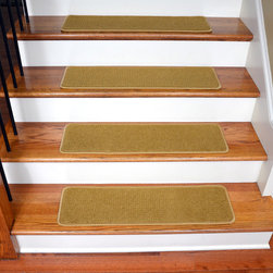 """Dean Flooring Company - Dean Pet Friendly DIY Carpet Stair Treads 30""""x9"""" (15) - Butterscotch Gold - Quality Sstylish ultra premium soft nylon stair gripper non-slip carpet stair treads by Dean Flooring Company. Extend the life of your high traffic hardwood stairs. Reduce slips/increase traction. Cut down on track-in dirt. Great for pets and pet owners. Made in the USA from quality, long lasting stain resistant carpeting with non-slip padded foam backing. Stands up great to high traffic. A fresh new look for your staircase. Do-it-yourself installation is quick and easy with our unique non-slip backing. Simply place your stair tread rugs on your staircase and go. No tapes, adhesives, staples, glue, or Velcro needed. And rest assured, they won't move and they won't damage your hardwood either. They are also simple and easy to remove as well with no sticky residue left behind. Each tread is finished on all four sides with attractive color matching yarn. No bulky fastening strips. You may remove your treads for cleaning and re-attach them when you are done. Add a touch of warmth and style to your stairs today with new stair treads from Dean Flooring Company! We make our own stair treads at Dean Flooring Company and our products are not available from anyone else."""