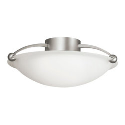 KICHLER - KICHLER Swiss Passport Transitional Semi Flush Mount Ceiling Light X-IN6048 - Clean finishes, fluid lines and an organic shape give this Kichler Lighting semi flush mount ceiling light a modern look. From the Swiss Passport Collection, the clean undertones of the satin etched glass shade and Brushed Nickel finish complete the look.