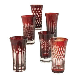 Two's Company - Ruby Red Etched Shot Glasses - Set of 6 - Ruby Hand-Etched Shot Glasses Includes 6 Designs hand blown glass, unique, stylish design, coloured glass, not painted.