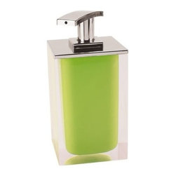 Gedy - Square Soap Dispenser Made From Resin, Green Finish - Gedy has added a newly designed soap dispenser to their already popular Rainbow collection. This dispenser is a free standing dispenser made from thermoplastic resins and cromall and is available in a green finish. The chrome pump has a sleek curvature, giving way to a new modern look. Made in Italy, it is perfect for the contemporary bathroom. Rainbow soap dispenser. Manufactured by Italian designer Gedy. Available in green finish. Free standing soap dispenser. Body made from thermoplastic resins with a cromall pump. Designed in Italy.