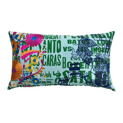 KOKO - Fiesta Pillow, Flowers - Colorful embroidery and a mix of punchy graphics give this vibrant pillow the feel of a modern fiesta. You'd be hard-pressed to find a better way to kick up the fun in a grouping of pillows.