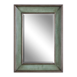 """Uttermost - Ogden Antique Light Blue Mirror - This wood frame features a hand rubbed sky blue finish with ivory undertones and lightly antiqued silver leaf details give the appearance of a blue green finish. Mirror has a generous 1 1/4"""" bevel. May be hung horizontal or vertical."""