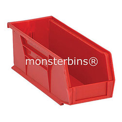 Plastic Bins - These stackable plastic bins come in cartons of 12.  The dimensions are 14-3/4 x 5-1/2 x 5.  Available in multiple colors as well as clear.  Use these all around your house to keep track of small parts and supplies.  View our entire selection of storage bins and containers here: http://monsterbins.com/