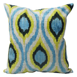 "NuLoom - Allen Ikat Velvet Silk And Cotton Decorative Pillow, Turquoise, 18""x18"" - This Allen Ikat Velvet Silk And Cotton Decorative Pillow would make a great addition to a couch or bed."