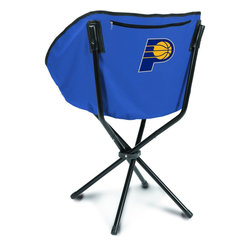 """Picnic Time - Indiana Pacers Sling Chair in Navy - The Sling Chair by Picnic Time is a portable, folding chair you can take anywhere. The chair opens to 20"""" wide x 14"""" deep x 30"""" high. No loose parts It's so compact and convenient, you may just want to keep it in the trunk of your car!; Decoration: Digital Print; Includes: 1 nylon drawstring carry bag"""