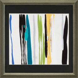 Paragon Decor - Ambiguous Presence Artwork - Bold colors mix for an energetic statement.  Giclee is raised mounted with hand painted silver bevels.
