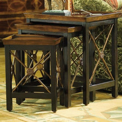 Hooker Furniture - Seven Seas 3 Pc Nesting Table Set w Diamond T - Includes small, medium and large table. Hand painted. Distinctive X-motif with carved rosette on sides. Tapered legs. Adjustable levelers. Made from hardwood solids and cherry veneers. Rich black finish with rub-through. Large table opening: 18.5 in. W x 11.63 in. D x 22.38 in. H. Middle size table opening: 14.13 in. W x 10.38 in. D x 19.88 in. H. Small: 13.13 in. W x 10.63 in. D x 19.13 in. H. Medium: 17.63 in. W x 12.75 in. D x 21.25 in. H. Large: 22 in. W x 15 in. D x 24 in. HThis set of transitional tables is perfect for entertaining.
