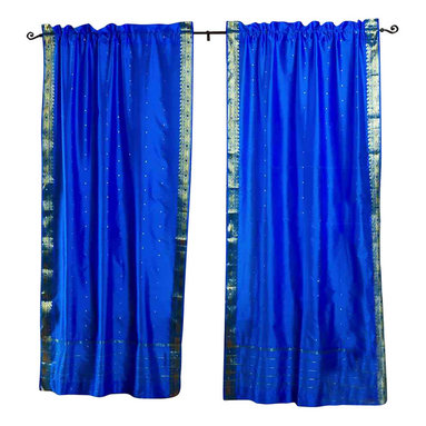 Indian Selections - Pair of Blue Rod Pocket Sheer Sari Curtains, 43 X 84 In. - Size of each curtain: 43 Inches wide X 84 Inches drop