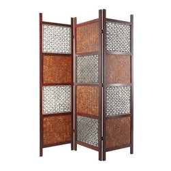 Oriental Furniture - 6 ft. Tall Bamboo Leaf Room Divider - Beautiful and exotic, this intricately woven screen is a practical room divider, a striking decorative accent, and a sure-fire conversation piece. Its delicate balance of traditional weaving and natual bamboo and abaca add texture and character to any space.