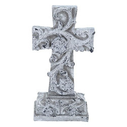 """Benzara - Poly Stone Cross in Elegant Design - Bring this holy cross design made out of the finest quality polystone to grace your home with a unique charm and grace. Look at it for inner peace or to admire its beauty, either ways, it is helpful for your home. You can keep it in your office place and feel the calm in the ambience. Its beautiful white finish with a wash of brown for an antique look suits any decor backdrop and offers brightness to the surroundings. Whether it is a conventional decor or a modern setup, this cross deserves the best corner in any interior. Add this to your home for peaceful and calm surroundings. Its tough construction offers it a durability and long life with retained appearance. You can keep it in the living room or in your bedroom for a calm and positive ambience.; Elegant and timeless looks; Made of high quality polystone; Durable and long lasting; Suits modern and conventional decor; Weight: 4.41 lbs; Dimensions:10""""W x 6""""D x 19""""H"""