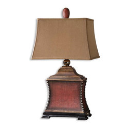 Uttermost - Pavia Red Table Lamp - Aged red finish over a woven textured base with antiqued silver beaded accents, matte black foot and heavily antiqued gold details. The rectangle, semi bell shade is a silkene, rust taupe textile.