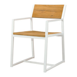 Mama Green - Baia Dining Chair, White - A fun combination of powder coated aluminum and FSC Certified reclaimed teak. The Baia slat chair is a contract grade dining chair that will do well in windy environments, as it is nicely weighed down by the teak seat and back rest.