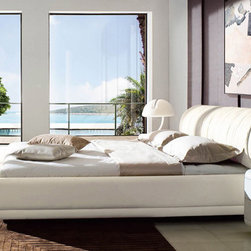 Zuri Furniture - Morocco White Leather Platform Bed, King - The Morocco contemporary bed is nothing short of plush, high end elegance. The gas lift mechanism provides loads of under bed storage for small spaces. And its top-grain Italian leather headboard brings warmth and quiet sophistication to any great composition.