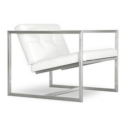 Gus Modern - Gus Modern | Delano Chair - Quick Ship - One of the first designs produced by Gus* Modern head designer David Podsiadlo, the Delano Chair is a modern chair with classic sensibility. Featuring a stainless steel base and clean lines, the Delano Chair would look great in both residential and commercial spaces. Both the seat and back cushions are blind tufted with top-stitched seams, contributing to the aesthetic while guaranteeing seam strength. As with all Gus&#42 Modern pieces, the Delano Chair features plastic bumpers on all four corners to prevent any floor damage from occurring. Available in other non-Quick Ship options, see Delano Chair.