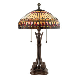 Quoizel - Quoizel TF6660BB West End Traditional Tiffany Table Lamp - This earthy style is a great way to bring the drama of Tiffany art glass into a more rustic or contemporary room setting.  The handcut, iridescent art glass is arranged in a soft geometric pattern, and features the rich color palette of an Indian summer.  Simply breathtaking.