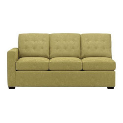 "Allerton Right Arm Sectional Queen Sleeper Sofa - Contemporary sleeper plays off mid-century tradition with bold squared-off lines, clean track arms and a button tufted back. Inside, it's all 21st century. Innovative wood frame with spring-loaded mechanism and double padded handles make setup a breeze. And the seat and back cushions easily lift off with new snug fit foam roll attachments. Luxurious 5""-thick high-density foam mattress is treated with stain-repellent and anti-microbial protection. Hardwood legs are finished a dark walnut. Pairs with Left Arm Corner Sofa to create a sectional."